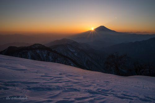 2月の塔ノ岳からのダイヤモンド富士