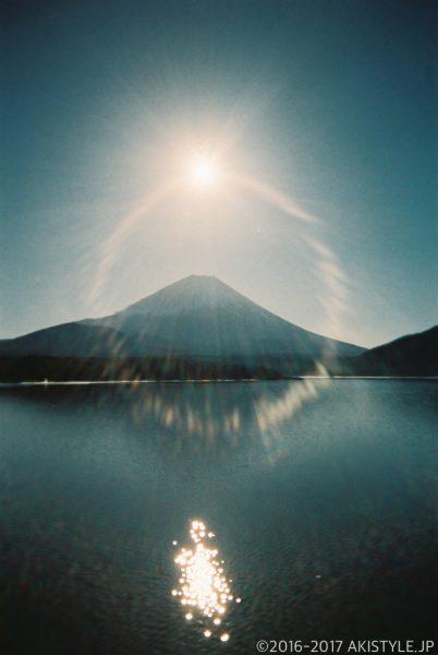 「写ルンです」で撮影した太陽と富士山