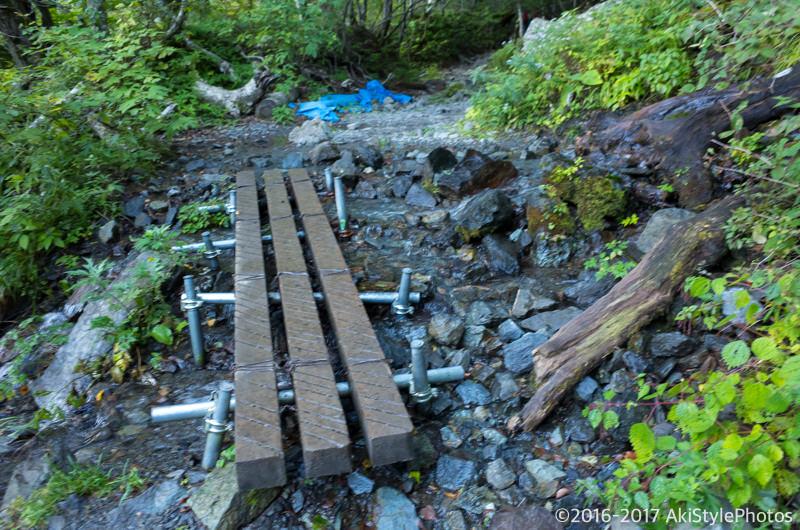 北岳の登山道にある橋