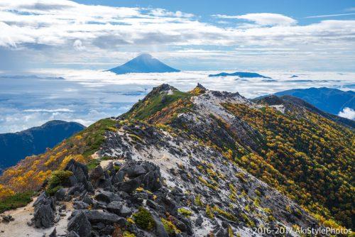 観音岳から見る薬師岳の紅葉と富士山