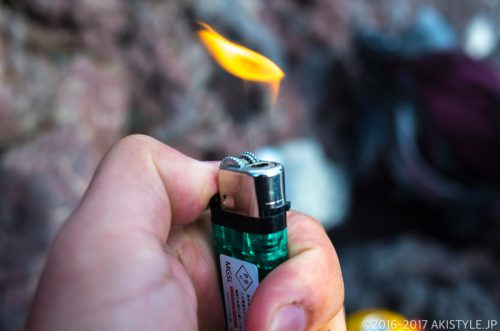 富士山の山頂で点火できるフリント式のライター