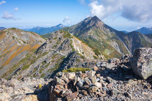 北岳〜間ノ岳の稜線