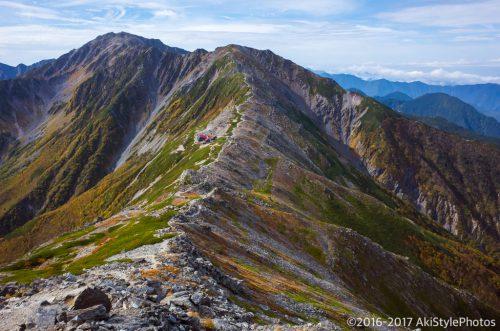 北岳の稜線