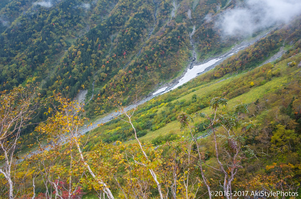 北岳の左俣ルートの雪原