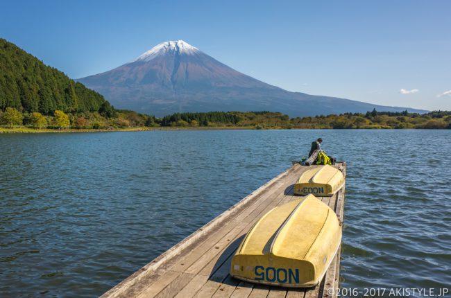 田貫湖から初冠雪した富士山