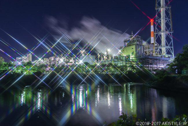 クロスフィルターで工場夜景