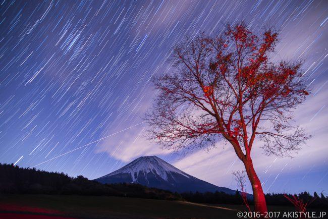 朝霧アリーナで富士山と比較明合成