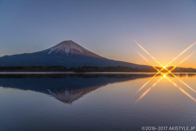 クロスフィルターで田貫湖の逆さ富士と日の出