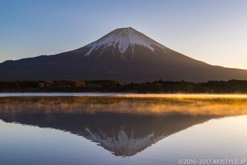 田貫湖で気嵐と逆さ富士