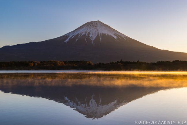 田貫湖の気嵐と逆さ富士