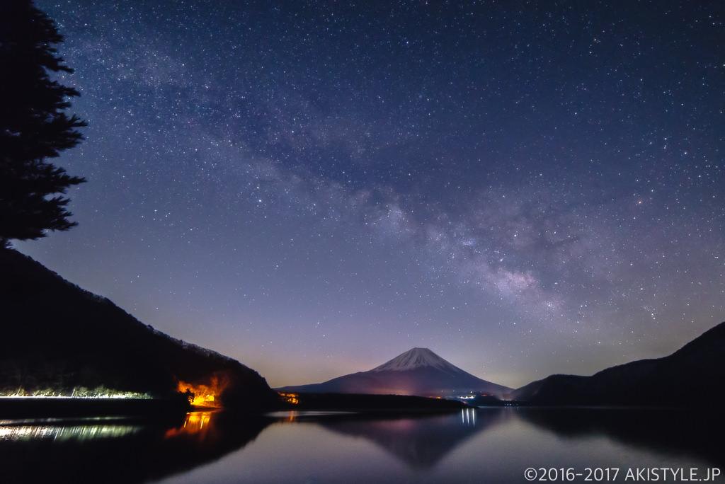 本栖湖からの天の川と富士山