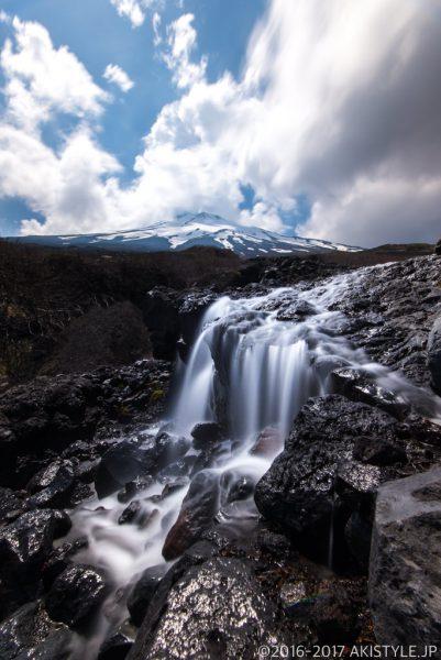 まぼろしの滝と富士山をスローシャッター撮影