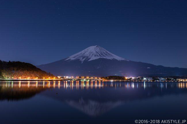 河口湖の花火と富士山