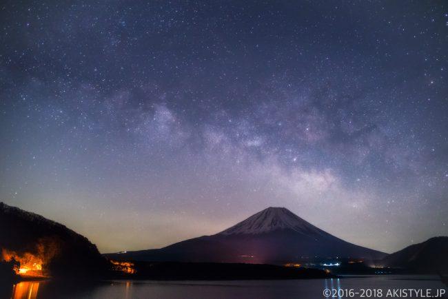 本栖湖からの富士山と天の川