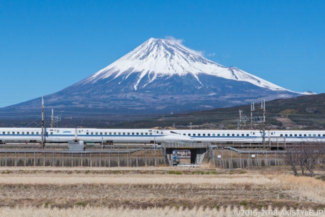 富士市から見る富士山と新幹線