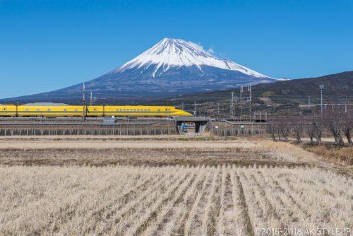 富士市で富士山とドクターイエロー