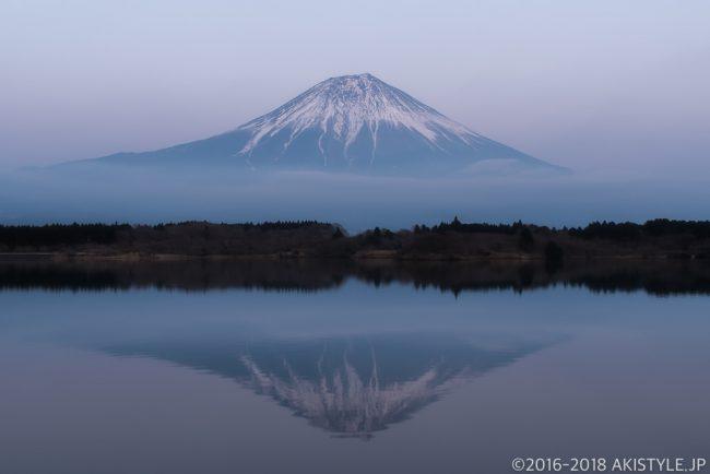 田貫湖でブルーアワーの逆さ富士