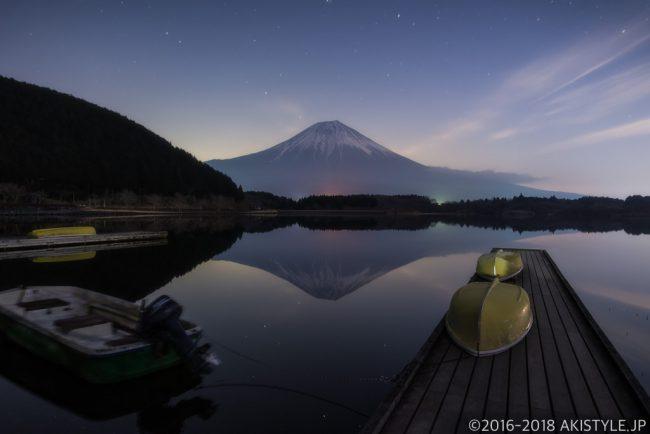 田貫湖のボート桟橋と富士山