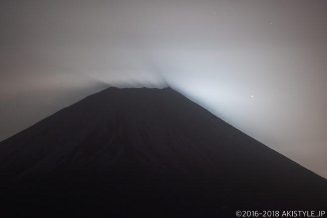 月の出直前の富士山