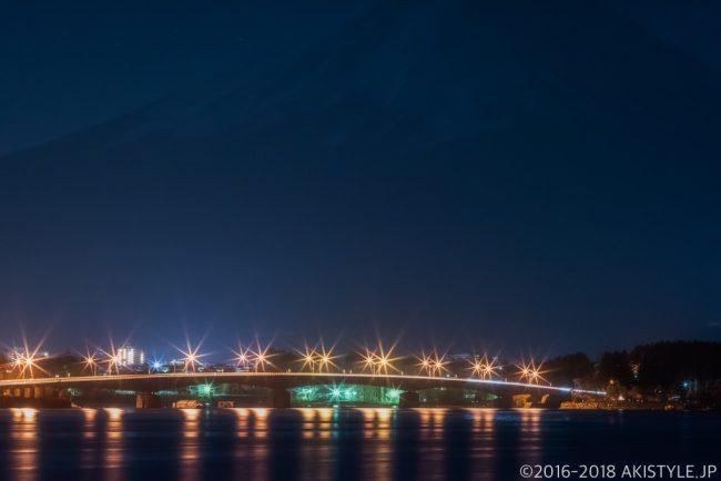 河口湖からの夜景と富士山