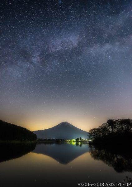 田貫湖からの逆さ富士と天の川