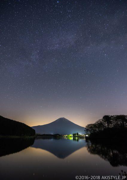 田貫湖の逆さ富士と天の川