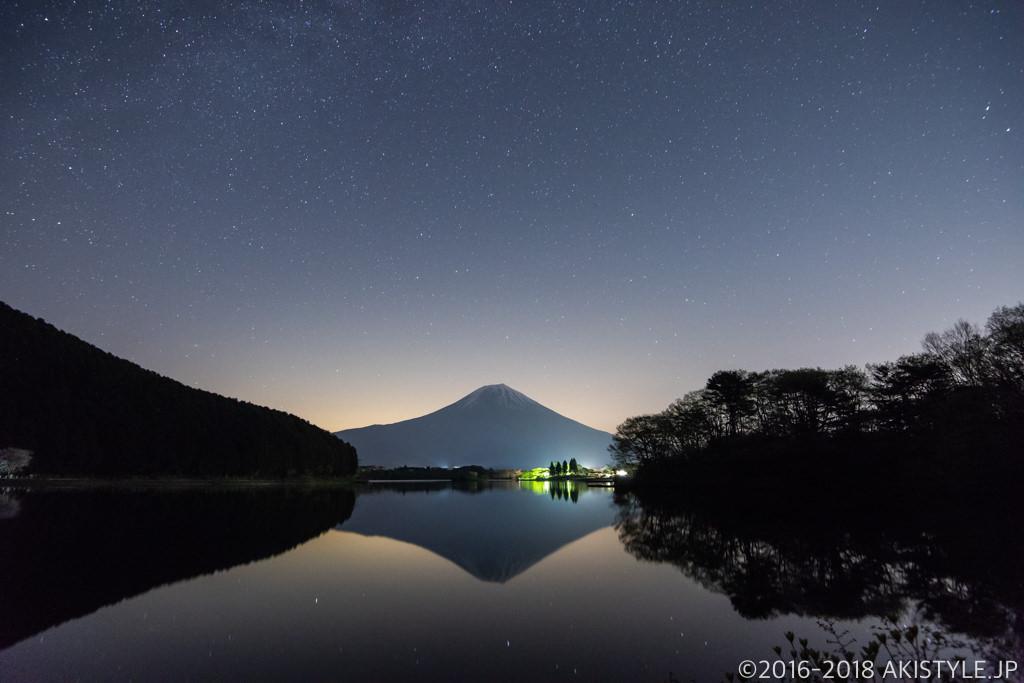 田貫湖の逆さ富士と星空