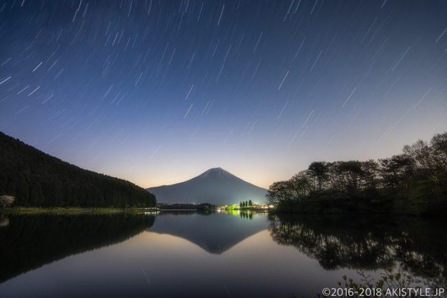 田貫湖で逆さ富士と星の軌跡