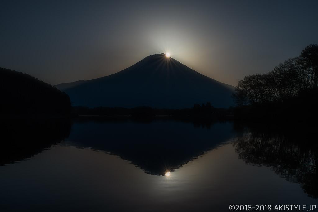 田貫湖からの春のダブルダイヤモンド富士