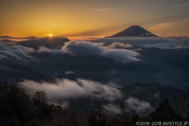 七面山、敬慎院からの雲海と富士山と御来光