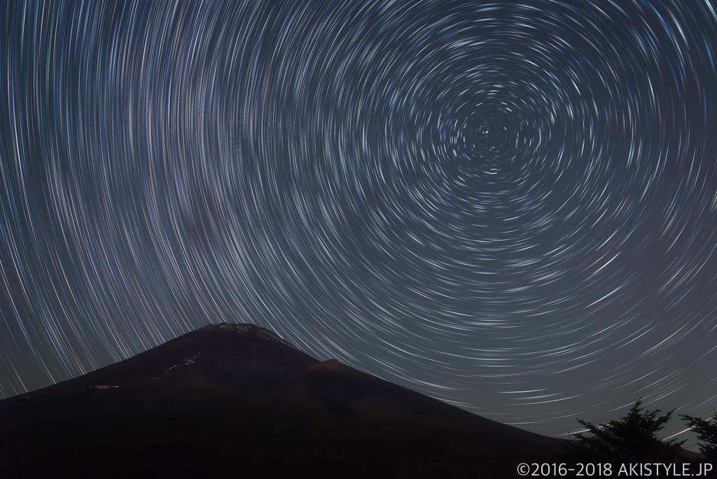 富士山と星の軌跡