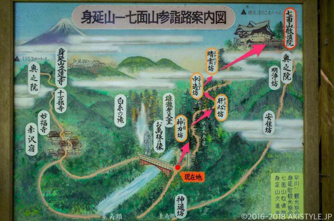 七面山の登山道マップ