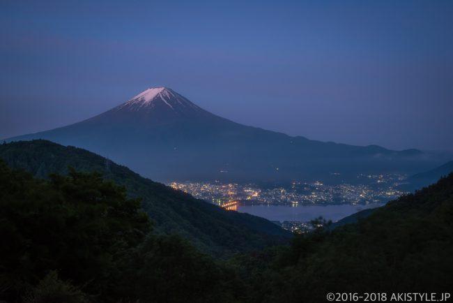 天下茶屋から見た富士山と夜景