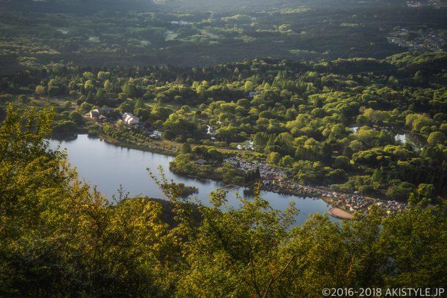 長者ヶ岳への登山道から見た田貫湖キャンプ場