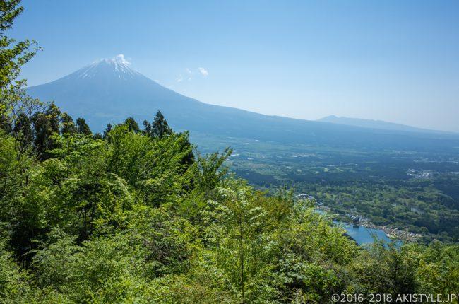 長者ヶ岳の登山道から見る富士山と田貫湖