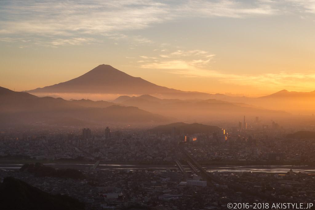 朝鮮岩から見た静岡市と富士山