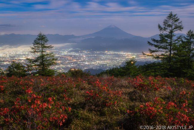 甘利山から見た夜景と富士山