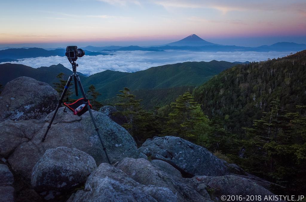 国師ヶ岳から富士山撮影