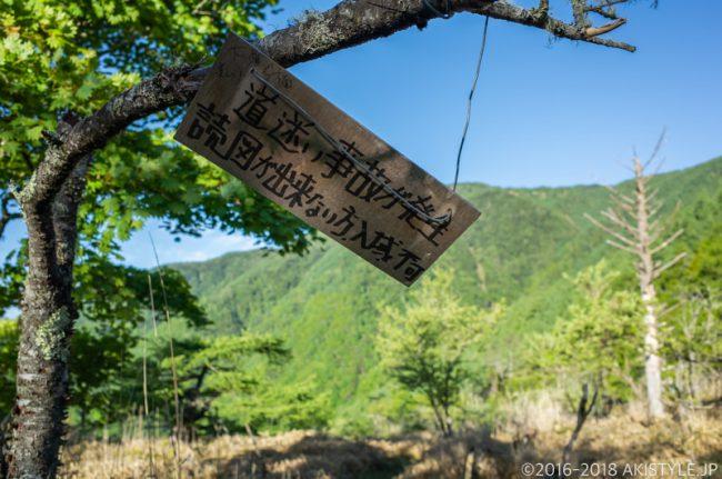 甘利山から大笹池への分岐