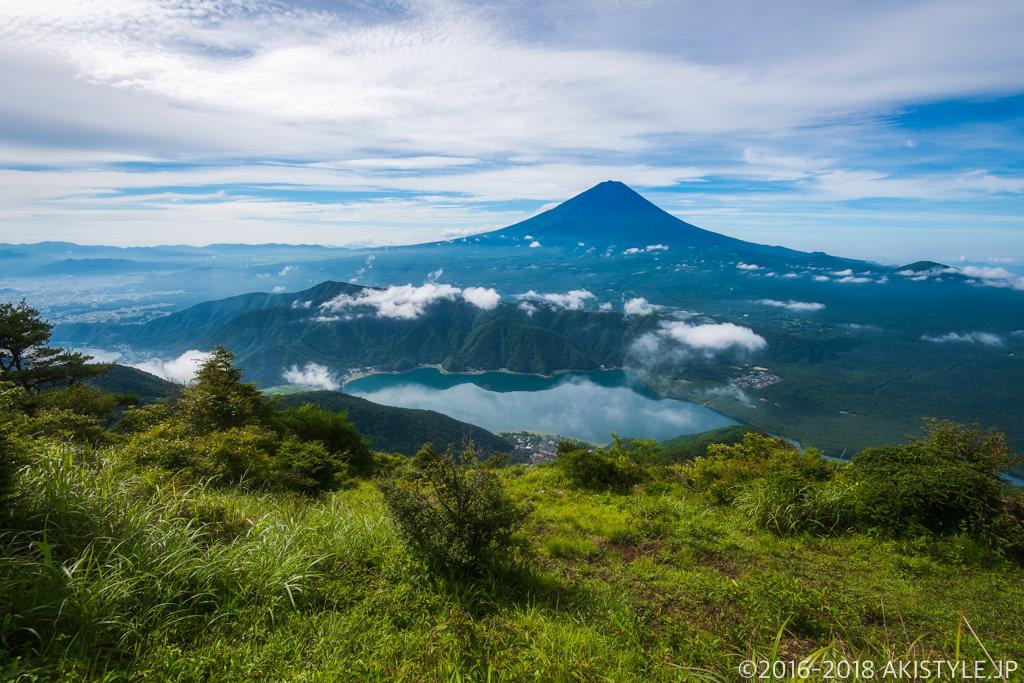 雪頭ヶ岳から見る富士山と西湖