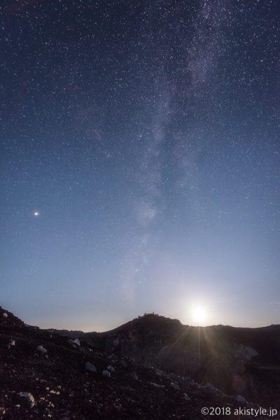 富士山頂から剣ヶ峰と天の川と月