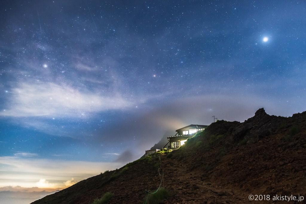 赤岳天望荘と星空