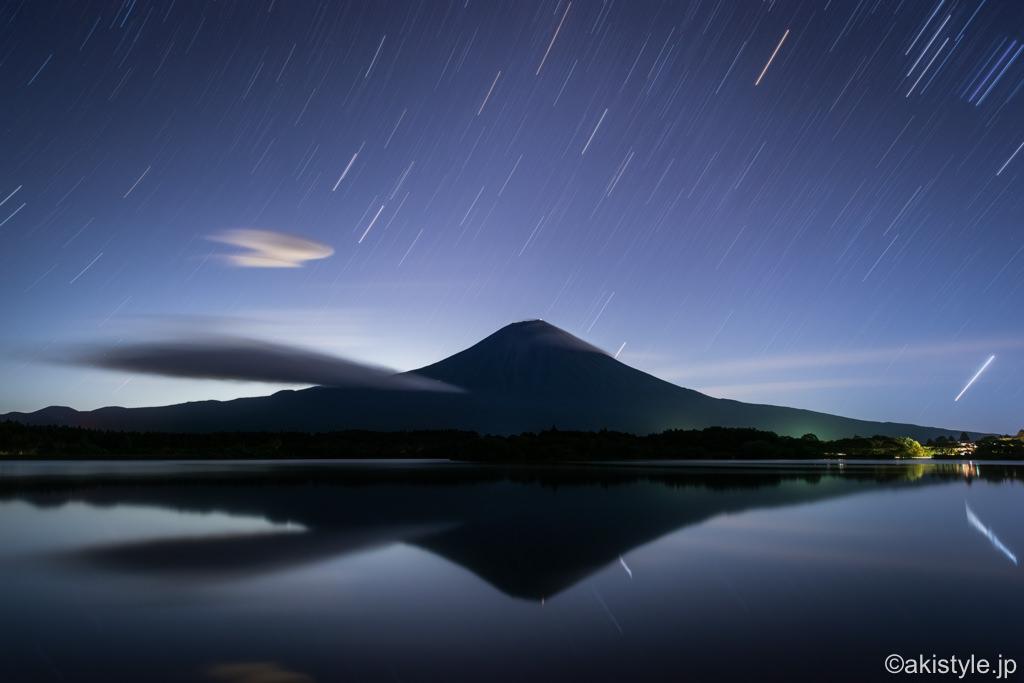 田貫湖の逆さ富士と星