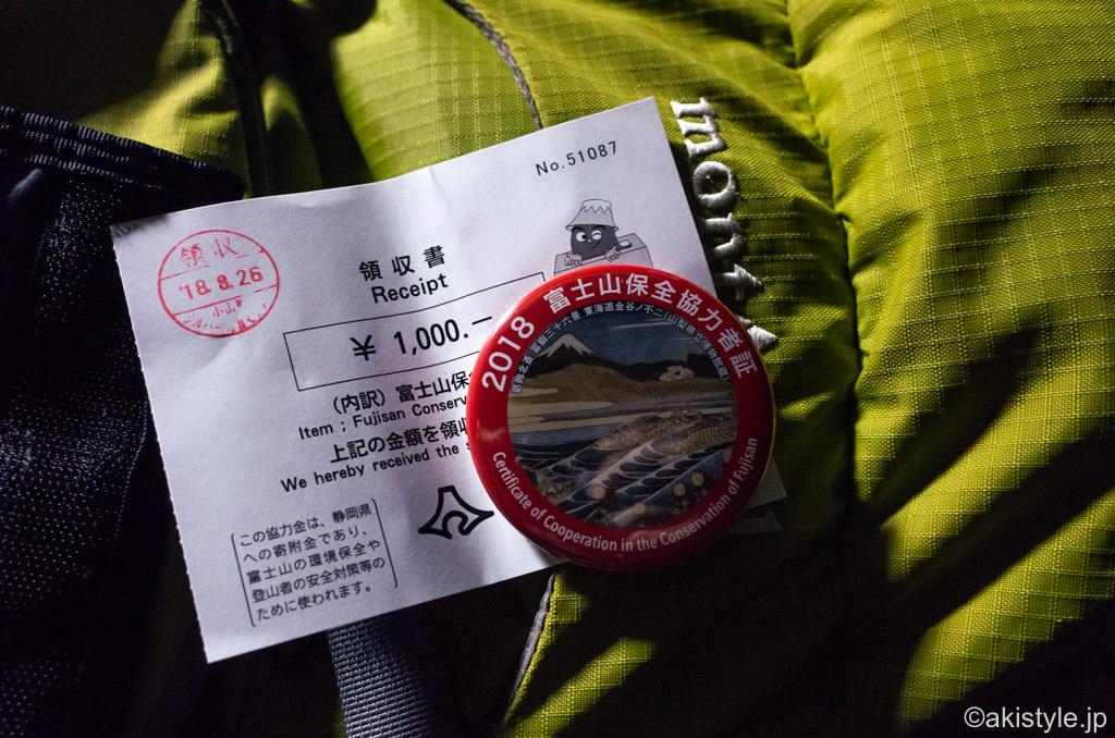 須走口5合目で富士山保全協力金