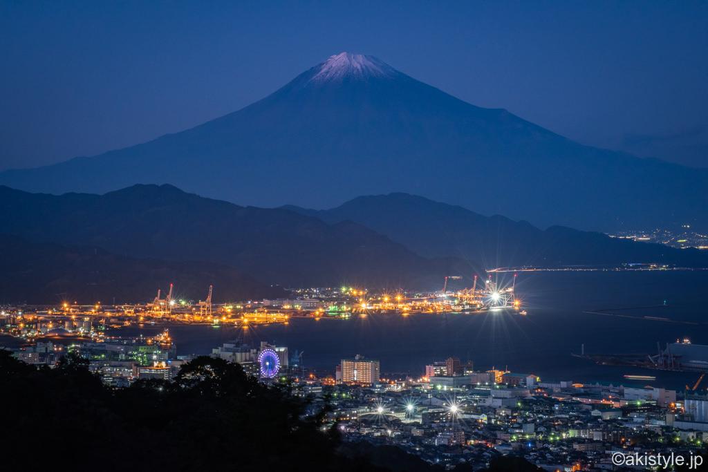 日本平富嶽台からの富士山と夜景