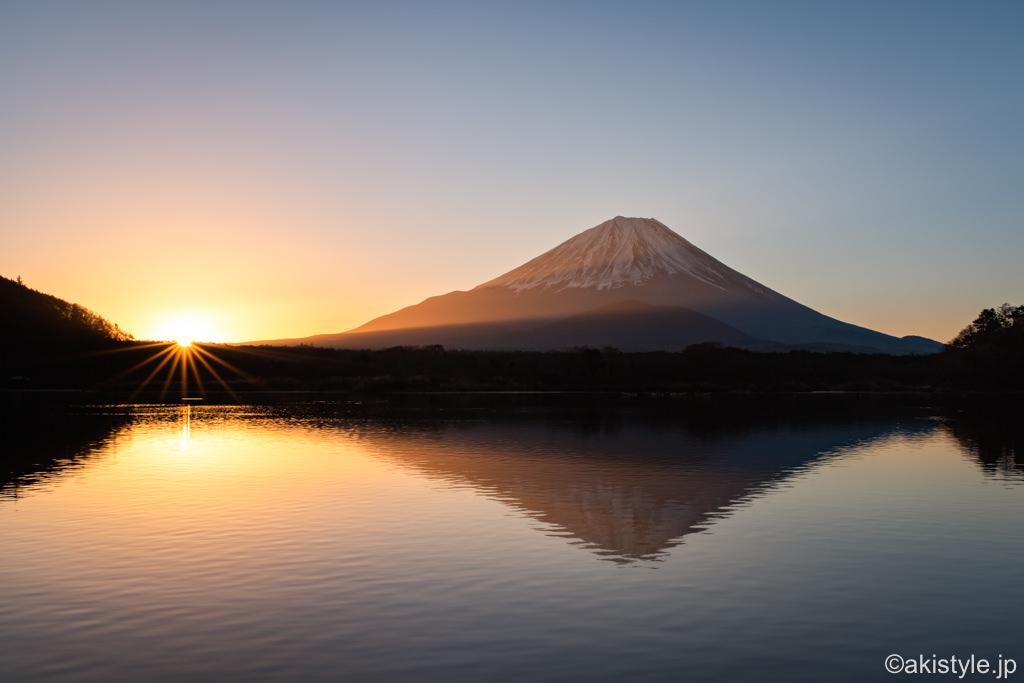 精進湖と富士山と日の出