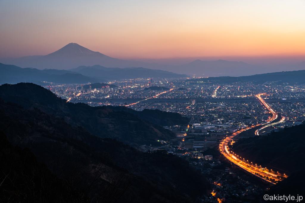 静岡夜景と富士山