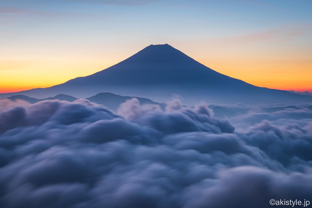 七面山の雲海と富士山