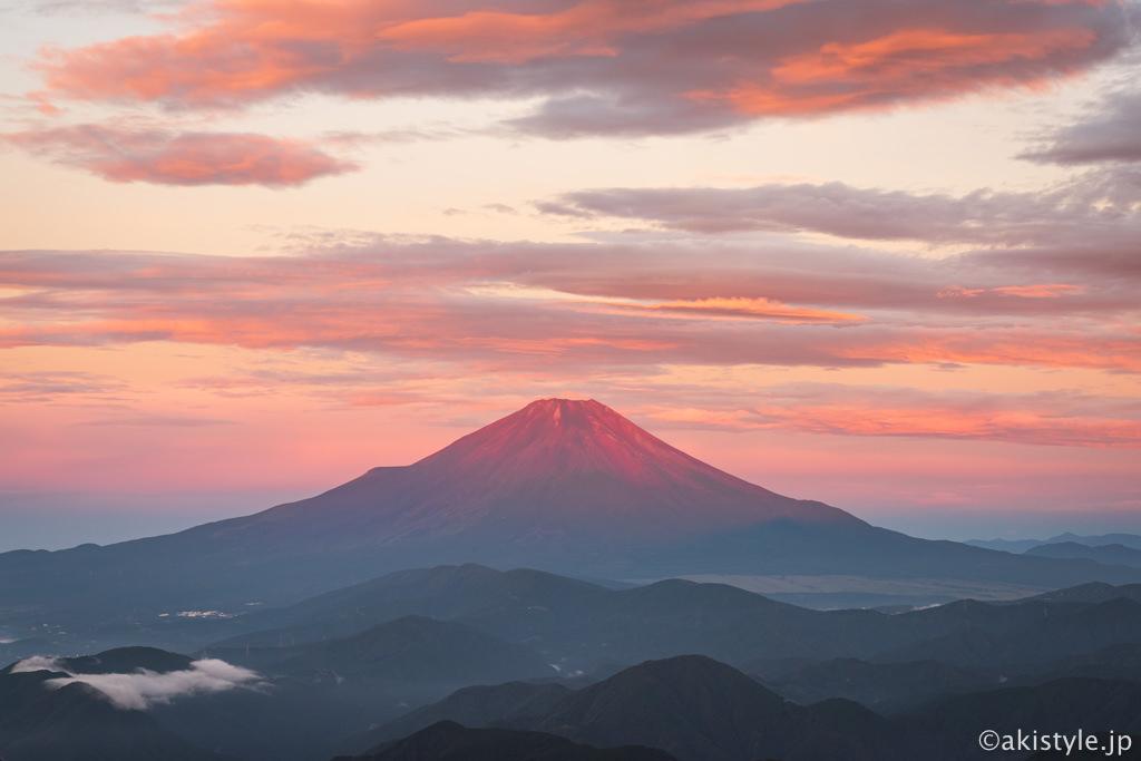 朝焼けと赤富士