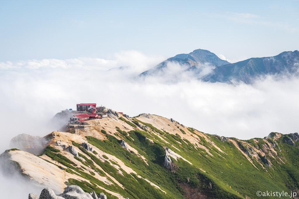 燕岳から見る燕山荘